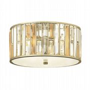 Gemma Flush Fitting in a Silver Leaf Finish with Amber Pearl and Clear Crystal Prisms - HINKLEY HK/GEMMA/F SL